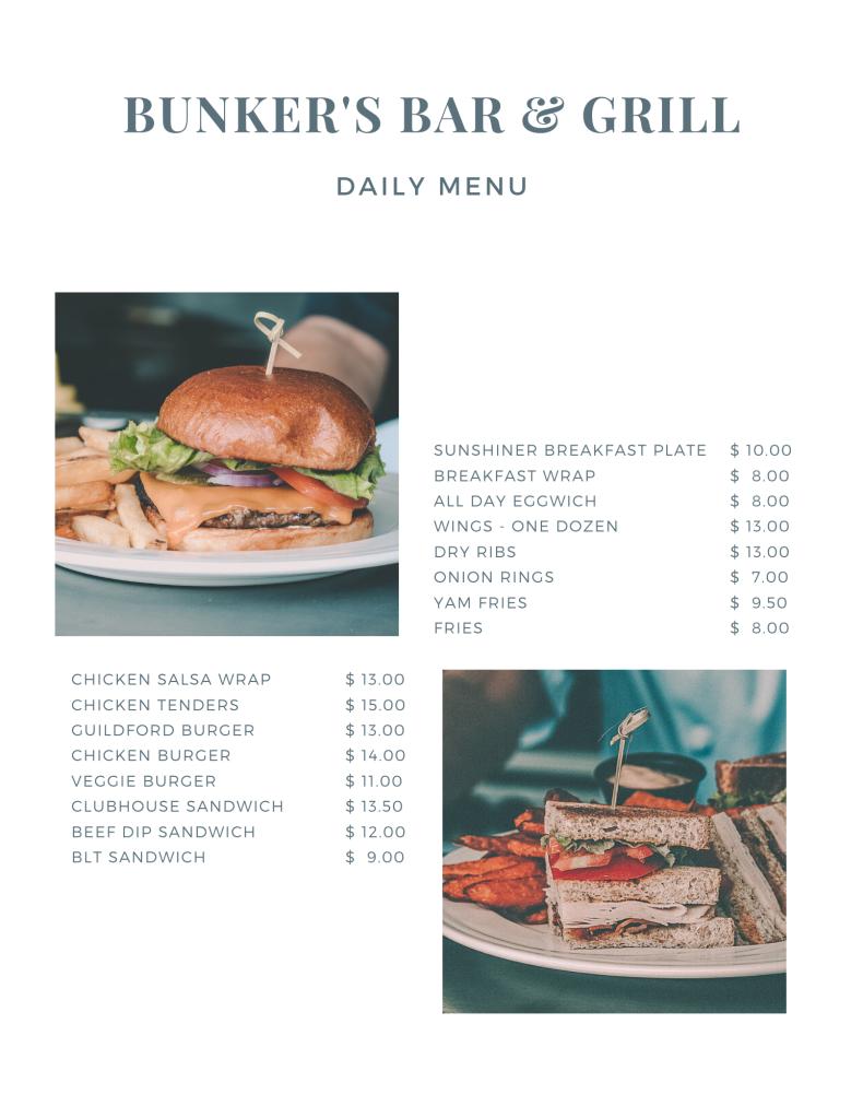 Bunker's Bar & Grill Guildford Golf Restaurant