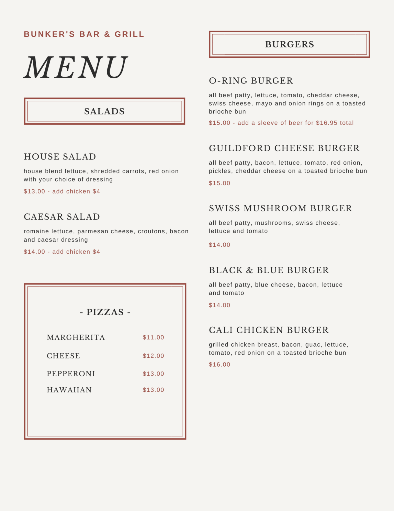 Bunker's Bar & Grill Daily Menu Page 2