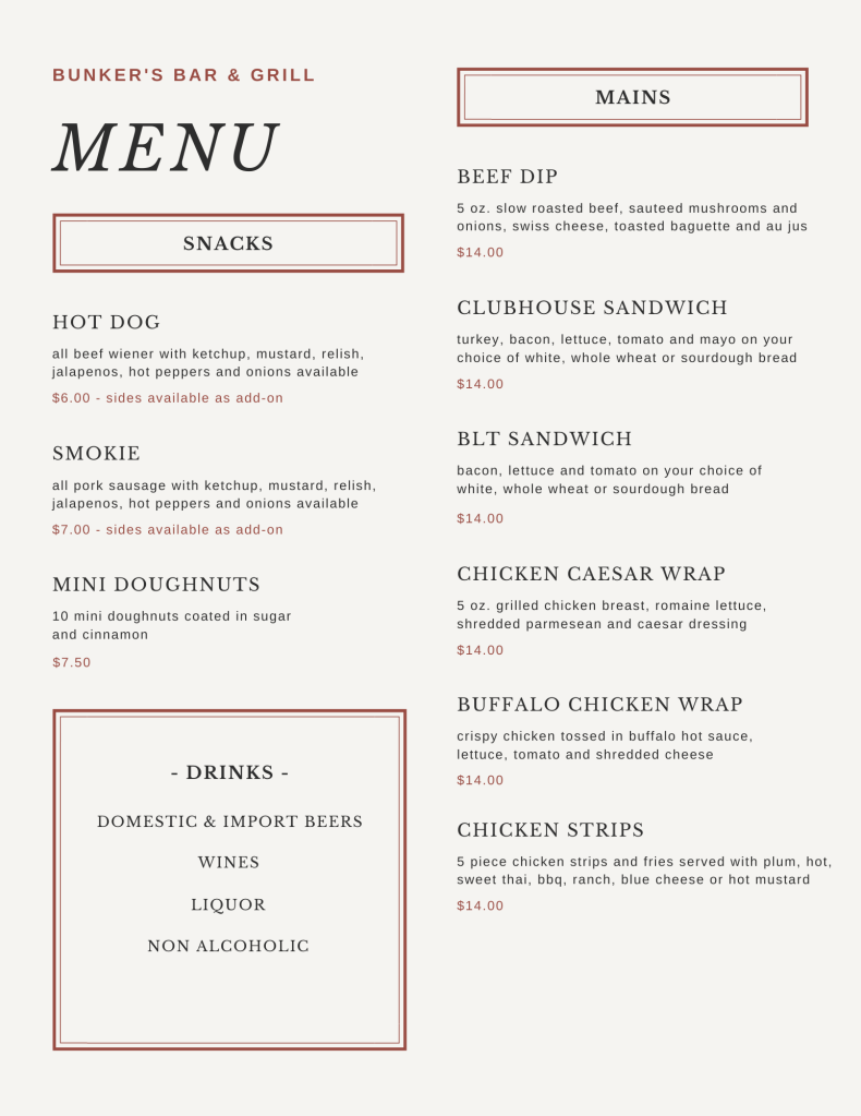 Bunker's Bar & Grill Daily Menu Page 3